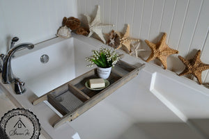 Barn Wood Gray Bath Tray 3 Compartments Recycled Wood , Tablette Holder