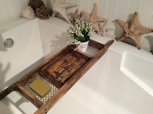 Load image into Gallery viewer, Dark Brown Stained 3 Compartment Recycled Wood Bath Tray
