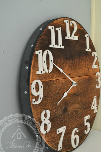 Wood Wall Clock , 20 inch Round , Farmhouse Style , Recycled Wood ,  Industrial Style