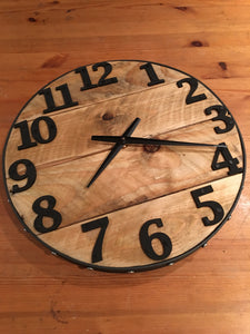 Wood Wall Clock , 14 inch Round , Farmhouse Style , Recycled Wood ,  Industrial Style