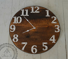 Load image into Gallery viewer, Wood Wall Clock , 20 inch Round , Farmhouse Style , Recycled Wood ,  Industrial Style