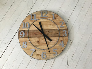 Wood Wall Clock , 24 inch Round , Recycled Wood ,Industrial Style