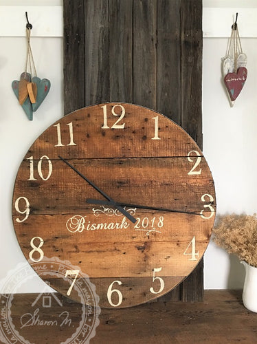 Farmhouse Over Sized Wall Clock ,  36 Inch Round , Reclaimed Barn wood , Farmhouse Style