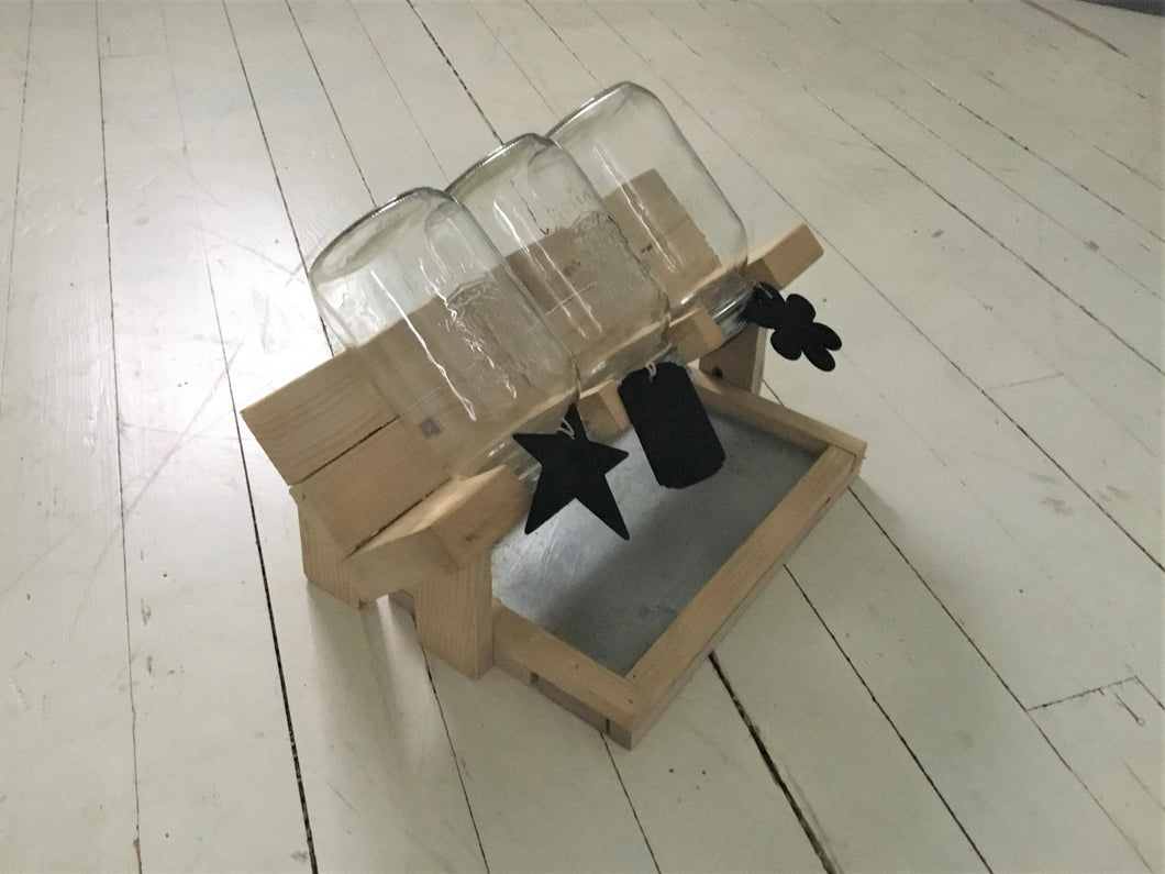 Wood Sprout Growing Stand with Drip Tray , 3 Jar Holder