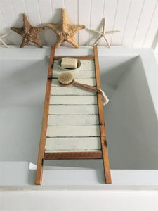 Reclaimed Wood Bath Tray , Natural and White Distressed Bath Caddy