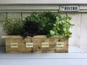 Reclaimed Wood Herb Planter , Metal Name Tags for Herbs , 3 Sizes