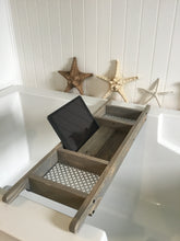 Load image into Gallery viewer, Barn Wood Gray Bath Tray 3 Compartments Recycled Wood , Tablette Holder