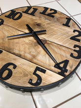 Charger l'image dans la galerie, Wood Wall Clock , Round 20 inches, Barn Wood , Industrial Style