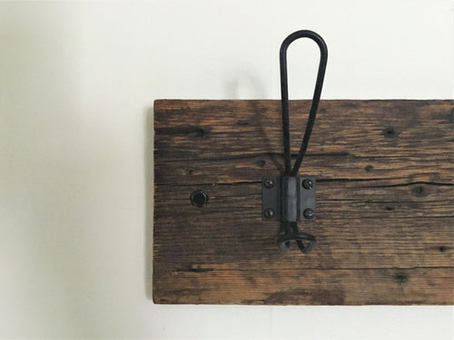 Wall Mounted Farmhouse Style Coat Hanger, Reclaimed Barn Wood