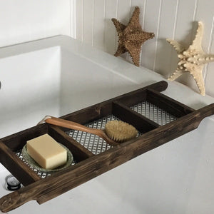 Dark Brown Stained 3 Compartment Recycled Wood Bath Tray