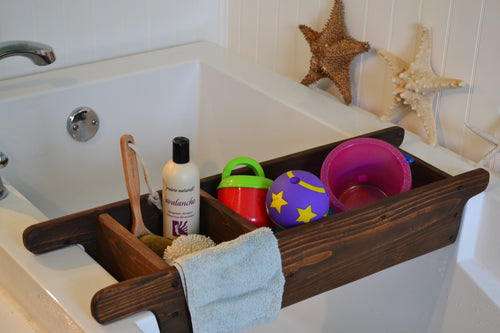 Bathtub Tray Toy Holder ,  Bathtub  Caddy  , Toy Holder , Rustic Style