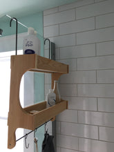 Load image into Gallery viewer, Red Cedar Shower Caddy Double Shelf with Steel Bar and Hooks