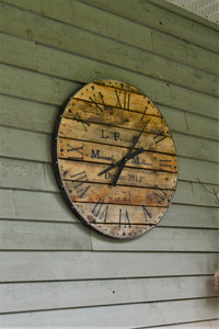 30 Inch Over Sized Wall Clock -Recycled Wood-Industrial Style