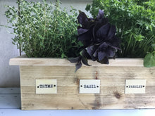 Load image into Gallery viewer, Reclaimed Wood Herb Planter , Metal Name Tags for Herbs , 3 Sizes