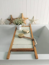 Load image into Gallery viewer, Reclaimed Wood Bath Tray , Natural and White Distressed Bath Caddy