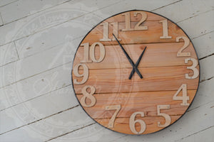 Wood Wall Clock , 18 inches Round , Farmhouse Style , Recycled Wood ,  Industrial Style
