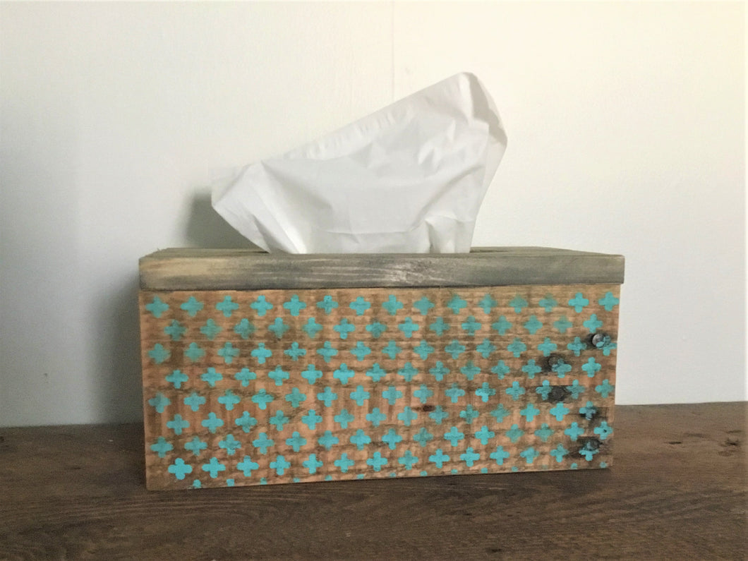 Wood Tissue Box Cover , Recycled Wood , Vintage Stencil