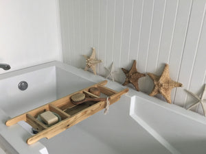 Bath Tray 3 Compartments  Natural Recycled Wood