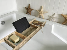 Load image into Gallery viewer, Bath Tray 3 Compartments  Natural Recycled Wood