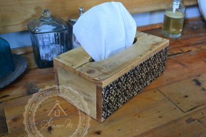 Wood Tissue Box Cover , Recycled Wood , Black Vintage Pattern