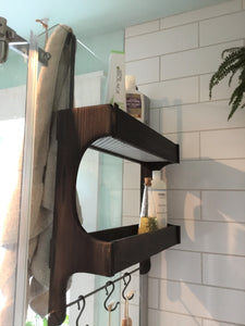 Charred Cedar Wood Shower Caddy Double Shelf with Steel Bar and Hooks , Shou Sugi Ban Shower Caddy