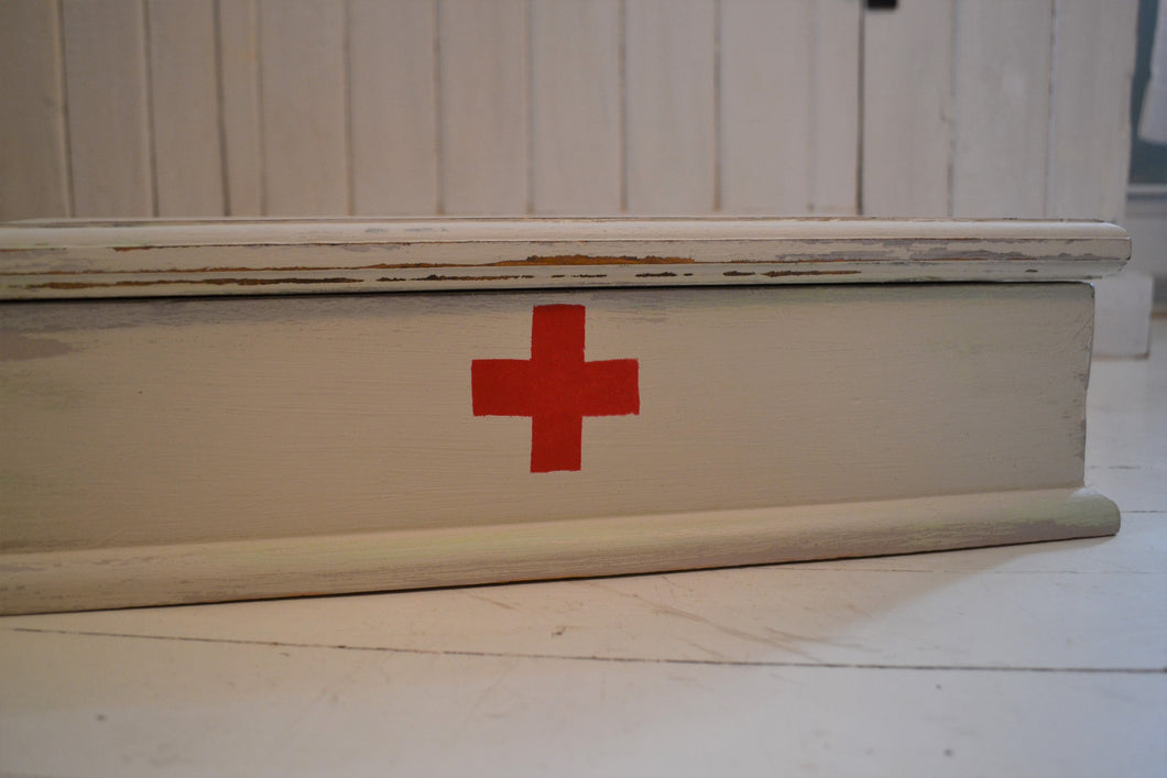 Red Cross Storage Box , Vintage Style Box with Lid , 4 Sizes