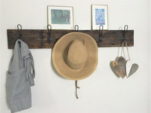 Load image into Gallery viewer, Wall Mounted Farmhouse Style Coat Hanger, Reclaimed Barn Wood