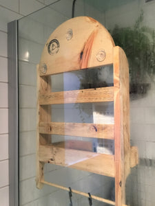 Shower Caddy for Shower Head , Reclaimed Wood Shower Rack