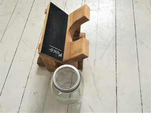 Wood Sprout Growing Stand with Drip Tray , 1 Jar Holder , Chalk Board Backing