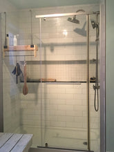 Load image into Gallery viewer, Red Cedar Shower Caddy Single Shelf with Steel Bar and Hooks and Optional Soap Holder