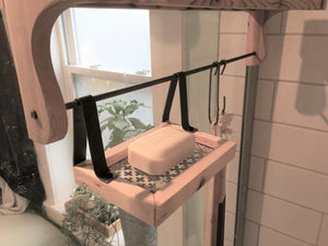 Red Cedar Shower Caddy Double Shelf with Steel Bar and Hooks