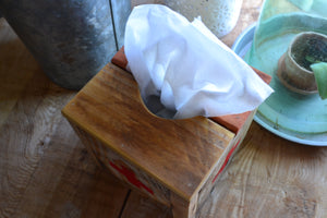 Square Natural Wood Tissue Box Cover , Reclaimed Wood , Vintage Red Cross