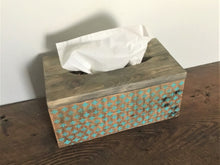 Load image into Gallery viewer, Wood Tissue Box Cover , Recycled Wood , Vintage Stencil