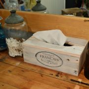 Recycled Wood Tissue Box Cover ,  Vintage White Washed