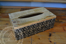 Load image into Gallery viewer, Wood Tissue Box Cover , Recycled Wood , Black Vintage Pattern