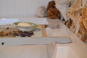 Vintage Farmhouse Bath Tray , 12 x 30 Colored Bath Tray , Pastels