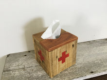Load image into Gallery viewer, Square Natural Wood Tissue Box Cover , Reclaimed Wood , Vintage Red Cross