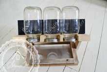 Load image into Gallery viewer, Wood Sprout Growing Stand with Drip Tray , 3 Jar Holder , Chalk Board Backing