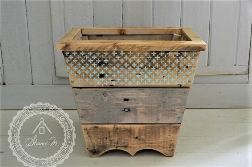 Wood Waste Paper Bin , Reclaimed Wood , Rustic Style , With or Without Lid
