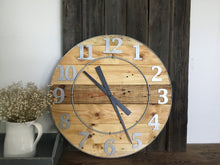 Load image into Gallery viewer, Wood Wall Clock , 24 inch Round , Recycled Wood ,Industrial Style