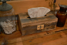 Load image into Gallery viewer, Natural Wood Tissue Box Cover , Recycled Wood , Decorative Tag