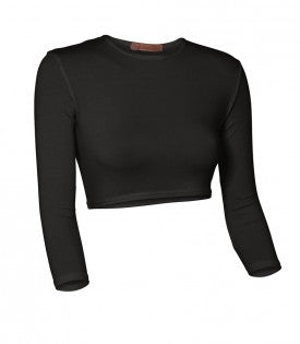Ladies Nylon/Lycra 3/4 Sleeve Crop top