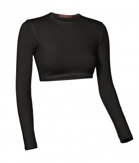 Ladies Nylon/Lycra Long Sleeve Crop top