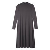 LADIES MOCK NECK RIBBED HALO DRESS LONG SLEEVE