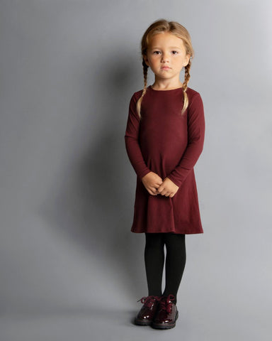 KIDS RIBBED HALO DRESS LONG SLEEVE