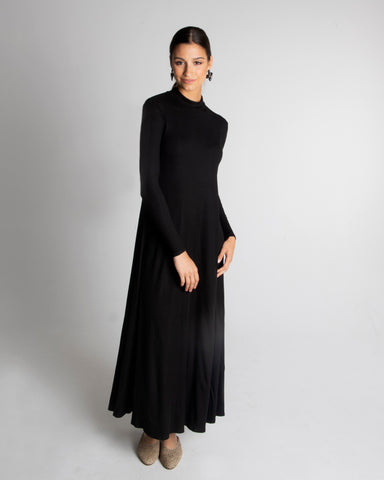LADIES RIBBED MOCK NECK MAXI HALO DRESS LONG SLEEVE