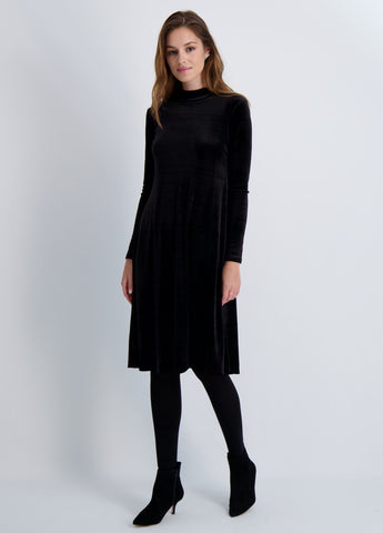 Ladies Velvet Halo Mockneck Dress