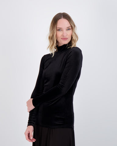 Ladies Velour Long Sleeve Mockneck