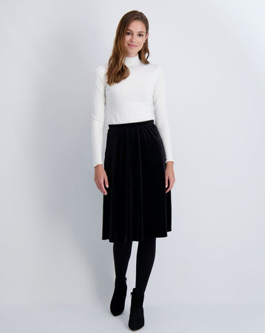 Ladies A-line velvet skirt