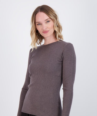 Ladies Knit Ribbed Sweater